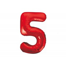 Balon foliowy cyfra 5, czerwony, 102 cm