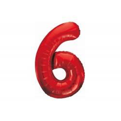 Balon foliowy cyfra 6, czerwony, 102 cm