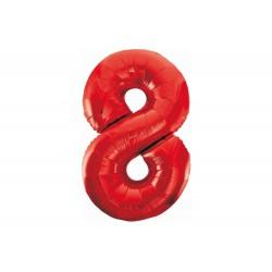 Balon foliowy cyfra 8, czerwony, 102 cm