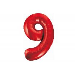 Balon foliowy cyfra 9, czerwony, 102 cm