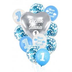 Balony zestaw ROCZEK + IMIĘ niebieski