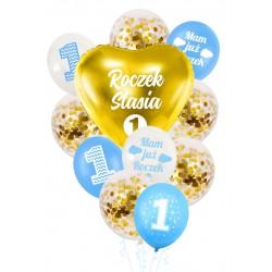 Balony zestaw ROCZEK + IMIĘ niebiesko złoty