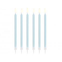 Świeczki urodzinowe gładkie, jasny niebieski, 14cm