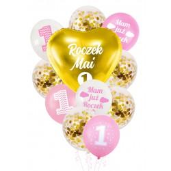 Balony zestaw ROCZEK + IMIĘ różowo złoty