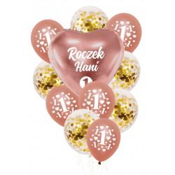 Balony zestaw ROCZEK + IMIĘ rose gold