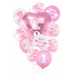 Balony zestaw ROCZEK + IMIĘ różowy