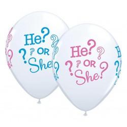 Balony 11 cali HE? or SHE? pastelowe białe