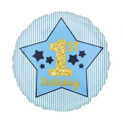 Balon foliowy 18 cali - 1st Birthday, niebieski