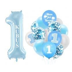 Zestaw balonów Cyfra 1 + imię ROCZEK niebieski
