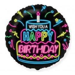 Balon foliowy 18 cali  Happy Birthday  NEON