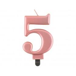 Świeczka cyfra 5 urodziny, metalik różowo-złota, 8 cm