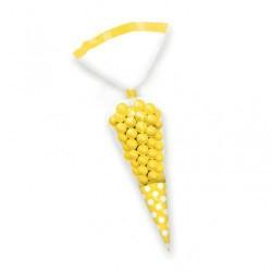 Torebki foliowe rożki żółte w kropki 10szt