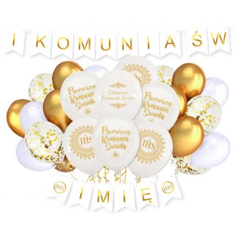 Dekoracje na komunię balony baner z imieniem