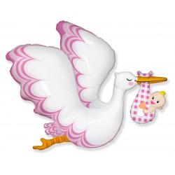 Balon foliowy 24 cale Bocian Baby Girl