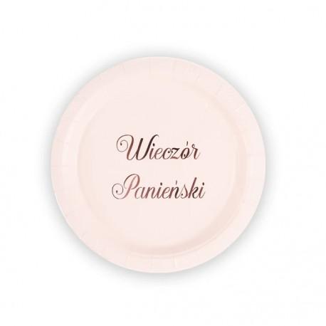 Papierowy talerz różowy Wieczór Panieński 6szt