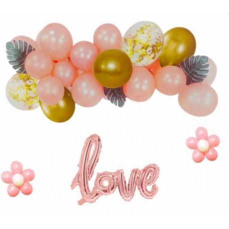 ZESTAW balonów LOVE rose gold