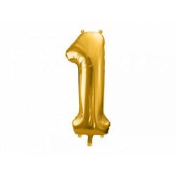"""Balon foliowy 34"""" cyfra 1, złoty 1szt"""