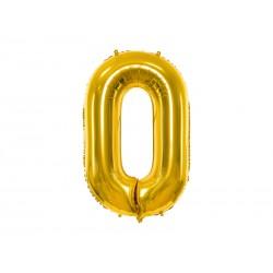 """Balon foliowy 34"""" cyfra 0, złoty 1szt"""