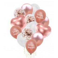 Zestaw balonów rose gold z serduszkami