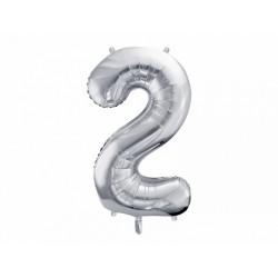 "Balon foliowy 34"" cyfra 2, srebrny 1szt"