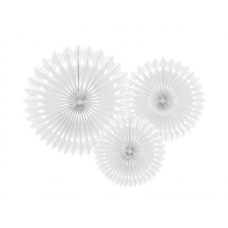 Rozety dekoracyjne, biały, 20-30cm, 3 szt
