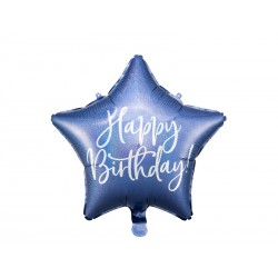 Balon foliowy Happy Birthday, 40cm, granat, holo