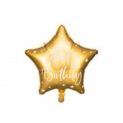 Balon foliowy Happy Birthday, 40cm, złoty, gwiazdki