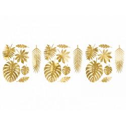 Dekoracje Aloha - Liście tropikalne, złoty