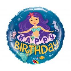 Balon foliowy 18 cali QL - Happy Birthday SYRENKA