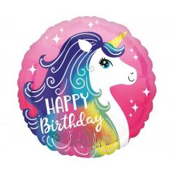 Balon foliowy Różowy jednorożec Happy Birthday