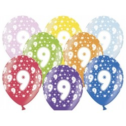 """Balon gumowy 14"""" 9 Urodziny, 1szt."""