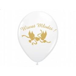 """Balon gumowy 30cm/14"""" Wiwat Młodzi, biały 1szt."""