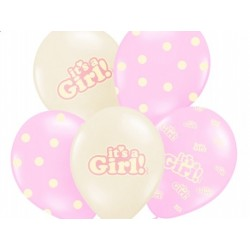 "Balon gumowy 30cm/14"" ""It's a Girl"", 1szt."