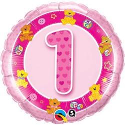 """Balon foliowy  18"""", 1 Urodziny różowy"""