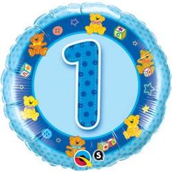 """Balon foliowy 18"""", 1 Urodziny niebieski"""