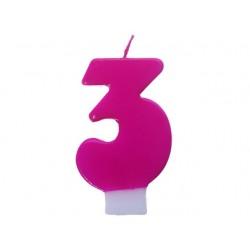 """Świeczka cyferka """"3"""", różowa"""