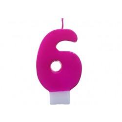 """Świeczka cyferka """"6"""", różowa"""