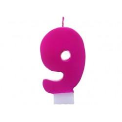 Świeczka cyferka 9, różowa