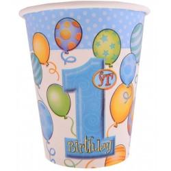 Kubeczki papierowe ROCZEK niebieskie baloniki, 8szt
