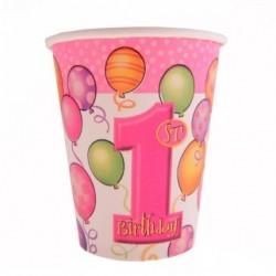 Kubeczki papierowe ROCZEK różowe baloniki, 8szt