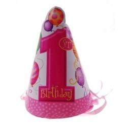 Czapeczki urodzinowe ROCZEK, różowe baloniki 8szt