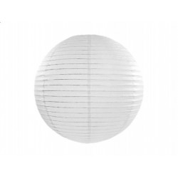 Lampion papierowy 25 cm, biały, 1szt