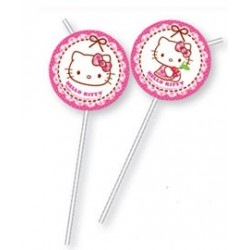 """Słomki łamane z medalionem """"Hello Kitty"""" 6szt."""