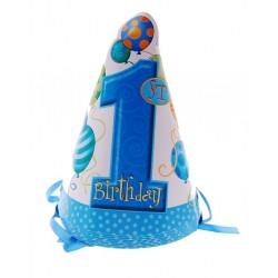 Czapeczki papierowe ROCZEK niebieskie, baloniki 8szt