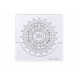 Zaproszenie na komunię srebrny ornament białe 1 szt