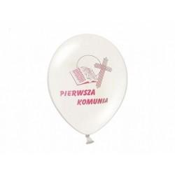 """Balon gumowy 12"""" komunijny z różowym nadrukiem"""