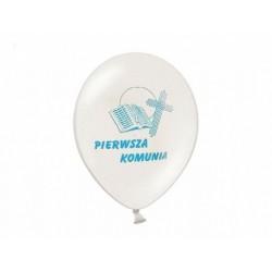 """Balon gumowy 12"""" komunijny z niebieskim nadrukiem"""