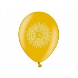 """Balon gumowy 14"""" kolor złoty i napis """"IHS"""""""