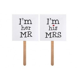 "Karteczki ""I'm his MRS"", ""I'm her MR"", 2 szt."