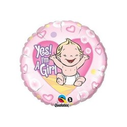 "Balon foliowy 18"", ""Yes! I'm a Girl"""